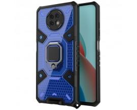 Husa Spate Upzz Techsuit Honeycomb Armor Cu Inel Metalic Compatibila Cu Xiaomi Redmi Note 9T Albastru