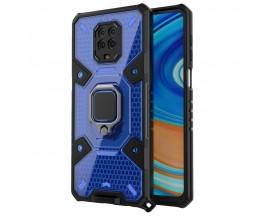 Husa Spate Upzz Techsuit Honeycomb Armor Cu Inel Metalic Compatibila Cu Xiaomi Redmi Note 9 Pro / Note 9 Pro Max Albastru