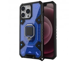 Husa Spate Upzz Techsuit Honeycomb Armor Cu Inel Metalic Compatibila Cu iPhone 13 Pro Max Albastru