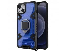 Husa Spate Upzz Techsuit Honeycomb Armor Cu Inel Metalic Compatibila Cu iPhone 13 Albastru