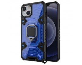 Husa Spate Upzz Techsuit Honeycomb Armor Cu Inel Metalic Compatibila Cu iPhone 13 Mini Albastru