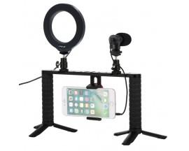 Platforma Vlog cu lampa circulara LED, microfon, suport telefon si 2 x trepied, Puluz PKT3028
