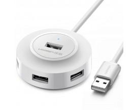 Adaptor HUB 4-in-1 UGREEN CR106, USB - 4x USB 2.0, LED, 1m, Alb - 03822706