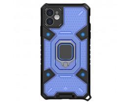 Husa Spate Upzz Techsuit Honeycomb Armor Cu Inel Metalic Compatibila Cu iPhone 11 Albastru