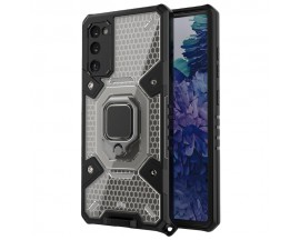 Husa Spate Upzz Techsuit Honeycomb Armor Cu Inel Metalic Compatibila Cu Samsung Galaxy S20 FE Negru