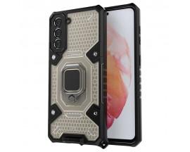 Husa Spate Upzz Techsuit Honeycomb Armor Cu Inel Metalic Compatibila Cu Samsung Galaxy S21 FE Negru