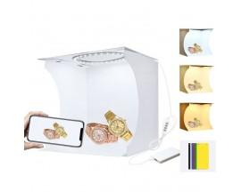 Mini studio portabil Lightbox PU5023 PULUZ, LED-uri incorporate, , fotografie/mini-filmulete de produs, 23x23x24 cm, Alb