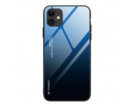 Husa Spate Upzz Gradient Glass Pentru iPhone 12 Pro Max, Spate Sticla Rezistenta , Albastru Megru