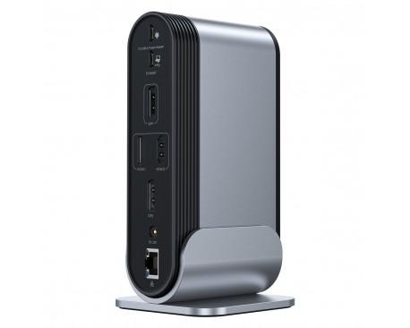 Statie multifunctionala HUB 16-in-1 Baseus Working Station, Cablu USB-C inclus, Dark Gray - 6203358