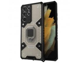 Husa Spate Upzz Techsuit Honeycomb Armor Cu Inel Metalic Compatibila Cu Samsung Galaxy S21 Ultra Negru