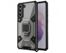 Husa Spate Upzz Techsuit Honeycomb Armor Cu Inel Metalic Compatibila Cu Samsung Galaxy S21 Negru