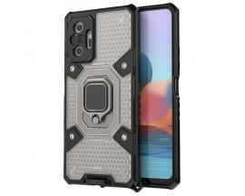 Husa Spate Upzz Techsuit Honeycomb Armor Cu Inel Metalic Compatibila Cu Xiaomi Redmi Note 10 Pro Negru