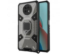 Husa Spate Upzz Techsuit Honeycomb Armor Cu Inel Metalic Compatibila Cu Xiaomi Redmi Note 9T Negru