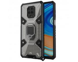 Husa Spate Upzz Techsuit Honeycomb Armor Cu Inel Metalic Compatibila Cu Xiaomi Redmi Note 9 Pro / Note 9 Pro Max Negru