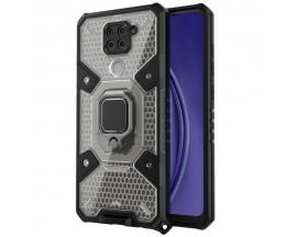 Husa Spate Upzz Techsuit Honeycomb Armor Cu Inel Metalic Compatibila Cu Xiaomi Redmi Note 9 Negru