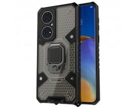 Husa Spate Upzz Techsuit Honeycomb Armor Cu Inel Metalic Compatibila Cu Huawei P50 Pro Negru