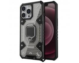 Husa Spate Upzz Techsuit Honeycomb Armor Cu Inel Metalic Compatibila Cu iPhone 13 Pro Negru