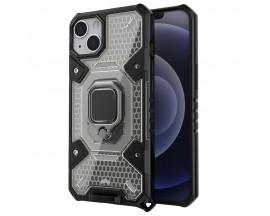 Husa Spate Upzz Techsuit Honeycomb Armor Cu Inel Metalic Compatibila Cu iPhone 13 Mini Negru