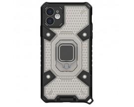 Husa Spate Upzz Techsuit Honeycomb Armor Cu Inel Metalic Compatibila Cu iPhone 12 Mini Negru