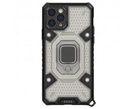 Husa Spate Upzz Techsuit Honeycomb Armor Cu Inel Metalic Compatibila Cu iPhone 11 Pro Negru