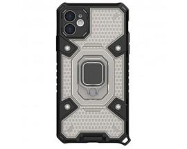 Husa Spate Upzz Techsuit Honeycomb Armor Cu Inel Metalic Compatibila Cu iPhone 11 Negru