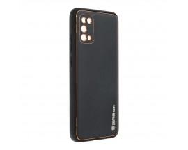 Husa Spate Cu Protectie La Camera Forcell Leather Compatibila Cu Samsung Galaxy A02s, Piele Ecologica, Negru
