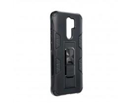 Husa Premium Upzz Defender Antishock Compatibila Cu Xiaomi Redmi 9 ,negru -stand Magnetic Pe Spate