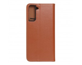 Husa Tip Carte Forcell Smart Pro Case Compatibila Cu Samsung Galaxy S21+ Plus, Piele Naturala, Maro