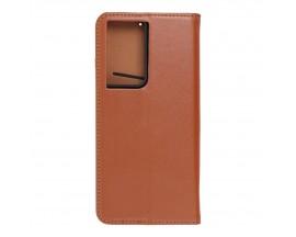 Husa Tip Carte Forcell Smart Pro Case Compatibila Cu Samsung Galaxy S21 Ultra, Piele Naturala, Maro