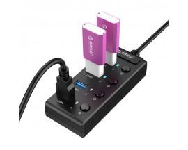 Adaptor HUB 4-in-1 Orico USB - 4x USB 3.0, Negru - 61867580