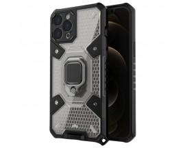 Husa Spate Upzz Techsuit Honeycomb Armor Cu Inel Metalic Compatibila Cu iPhone 12 Pro, Negru