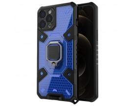 Husa Spate Upzz Techsuit Honeycomb Armor Cu Inel Metalic Compatibila Cu iPhone 12 Pro, Albastru