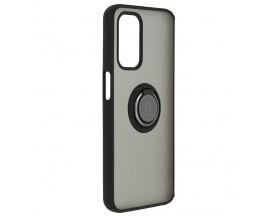 Husa Spate Premium Upzz Techsuit Glinth Cu Ring Metalic Pe Spate, Compatibila Cu Oppo A54 5G / A74 5G,  Negru