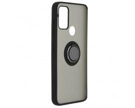 Husa Spate Premium Upzz Techsuit Glinth Cu Ring Metalic Pe Spate, Compatibila Cu Motorola Moto G50, Negru