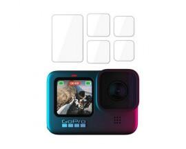 Folie protectie lentila si display 3MK Hybrid Glass pentru camera video sport GoPro Hero9/Hero10 Set 5 bucati