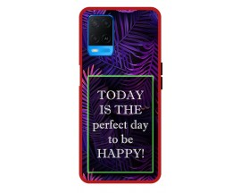 Husa Premium Spate Upzz Pro Anti Shock Compatibila Cu Oppo A54, Model Perfect Day, Rama Rosie