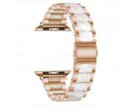 Curea Upzz Tech Modern Compatibila Cu Apple Watch 4 / 5 / 6 / 7 / SE (38 / 40 / 41 MM), Roz Alb