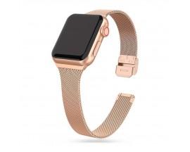 Curea Upzz Tech Thin Milanese Compatibila Cu Apple Watch 4 / 5 / 6 / 7 / SE (38 / 40 / 41 MM), Gold