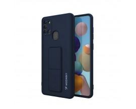 Husa Spate Wozinsky Compatibila Cu Samsung Galaxy A21s, Cu Stand Metalic Pe Spate, Protectie La Camera - Blue Deschis